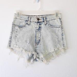 Vibrant Acid Wash Ripped Shorts